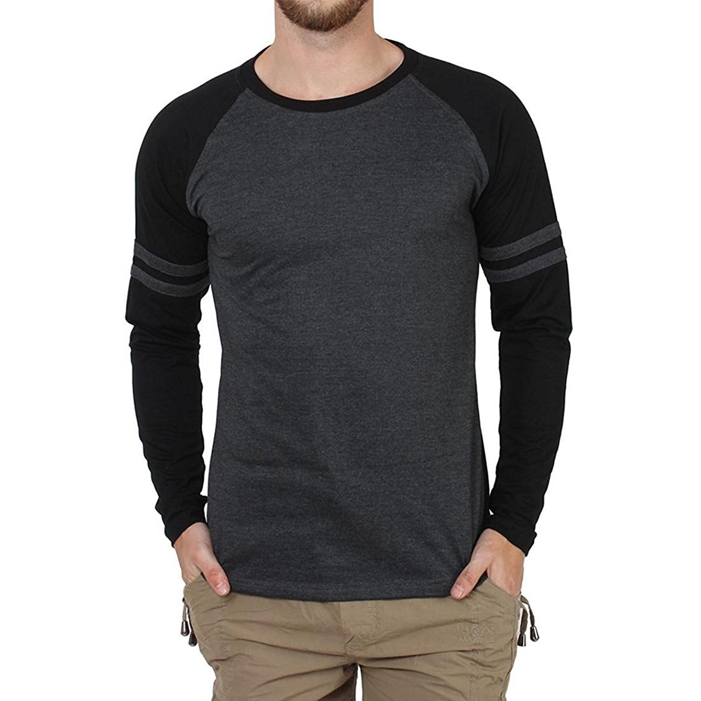 Black t shirt amazon - Style Shell Men S Raglan Full Sleeve Cotton T Shirt Amazon In Clothing Accessories