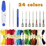 7 Sizes Punch Needle Tool Set, EUOW Embroidery Stitching Punch Needle,Cross Stitch Set Includes Scissors,Threader&24 Color Embroidery Line for Embroidery DIY Sewing (Color: Punch Needle Set)