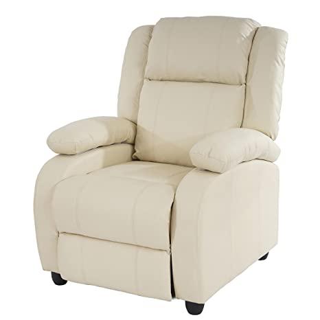 Fernsehsessel Relaxsessel Liege Sessel Lincoln, Kunstleder ~ creme