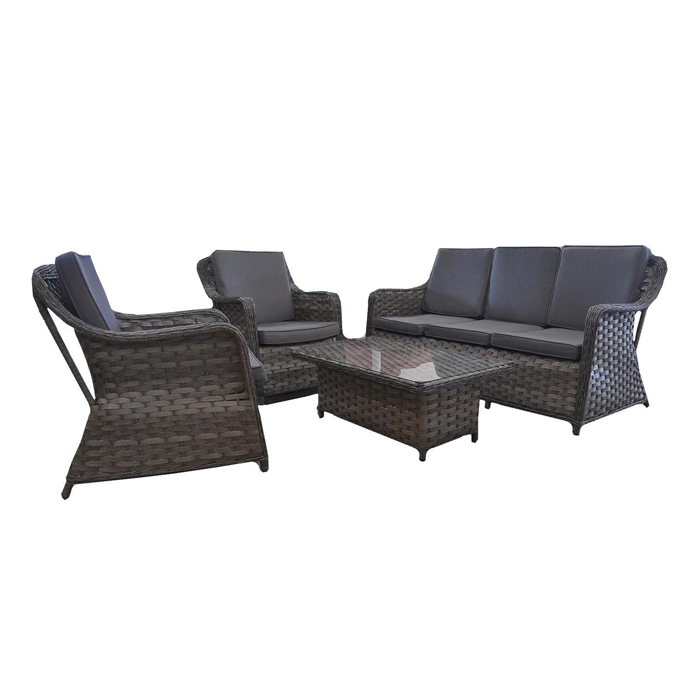 Gartenmöbel Garten-Lounge Loungegruppe mit Tisch und Kissen Polyrattan mocca online bestellen