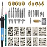 Upgraded Wood Burning Kit 47PCS,Wood Burner Pyrography Pen with Adjustable Temperature/Soldering Tips/CarvingKnife /Embossing/Stencil+Stand (Color: Blue)