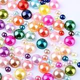 400 pcs DIY Art Mixed color Half Round Pearl Bead Flat Back 4mm - 8mm Scrapbook for Craft M1-10 (Color: Mix Color, Tamaño: 400)