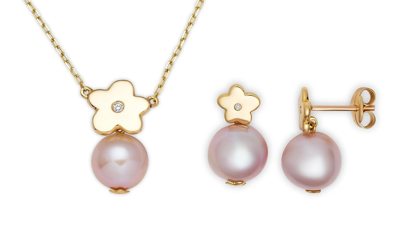 Miore Damen-Set: Halskette + Ohrringe Süßwasser-Zuchtperlen und Diamant 18 Karat (750) Gelbgold MSET003 günstig online kaufen