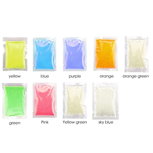 InnoLife - Mix-Color - 9 Bags of 10g Total 90g Beautiful Fluorescent Sand Decorating Sand Home Decoration Luminous Glow Sand Glow in The Dark Sand (Color: Mix-color - 9 Bags)