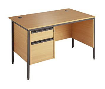 Minuet 1228 Straight Desk 4 Legs 2 Drawer Fixed Pedestal and Modesty Panel - Beech
