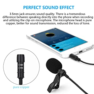 Lavalier Lapel Microphone, Lapel Mic Clip-on Omnidirectional Condenser for Iphone   Android Windows Smartphones External Video Recording Easy Clip on Tie or Shirt,  by T-area (Color: black)