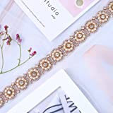 Rose Gold Pearls Bridal Wedding Dress Sash Belt Applique with Crystals Rhinestones Decorations Handcrafted Sparkle Elegant Thin Sewn or Hot Fix for Women Gown Evening Prom Clothes (Color: Rose Gold Pearls)