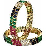 RATNAVALI JEWELS CZ Zirconia Gold Tone Multi Color Diamond Elegant Bollywood Indian Bangles Jewelry Women (Color: Multicolor)