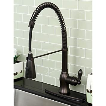 Kitchen Faucets-This is the Modern Oil Rubbed Bronze Spiral Pull-down Kitchen Faucet! Kitchen Faucets with swiveling faucet features an oil rubbed bronze finish and the pull-down sprayer reaches 36 inches long. Guaranteed!