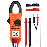 Proster Auto-ranging Clamp Meter TRMS Multimeter with NCV 600A AC Current AC/DC Voltage Continuity Resistance Frequency Temperature Diode Hz Tester (Color: Clamp Multimeter 2000)