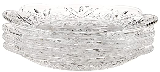 Crystal Dublin Canape/Dessert Plates Set of 4 by Godinger