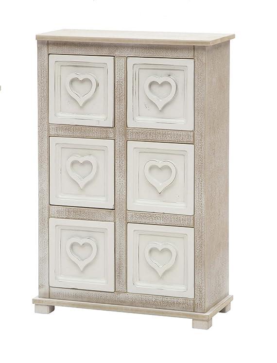 Cassettiera mobiletto 6 cassetti cuore arredamento casa in legno shabby chic