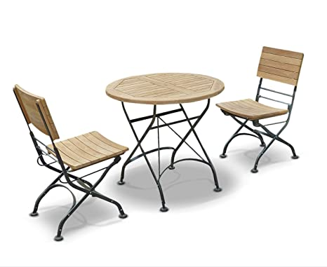Café Teak Bistro Round Garden Table 0.8m and 2 Bistro Chairs Set - Jati Brand, Quality & Value