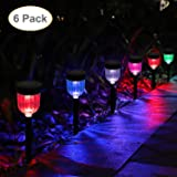 GELOO Solar Lights Outdoor, 6 Pack Color Changing Solar Pathway Lights Outdoor Garden Lights Landscape Lighting Weatherproof Auto On/Off for Garden Lawn Patio Yard Walkway Sidewalk Driveway (Color: Color Changing)