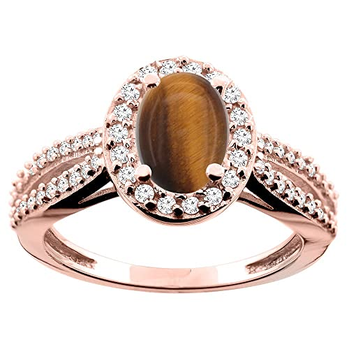 9ct White/Yellow/Rose Gold Natural Tiger Eye Ring Oval 8x6mm Diamond Accent 7/16 inch wide, sizes J - T