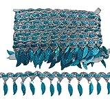 MELADY Pack of 10yards Sequins Leaves Hanging Tassel Lace Dance Clothing Accessories Fringe Trim (Sky Blue) (Color: sky blue)