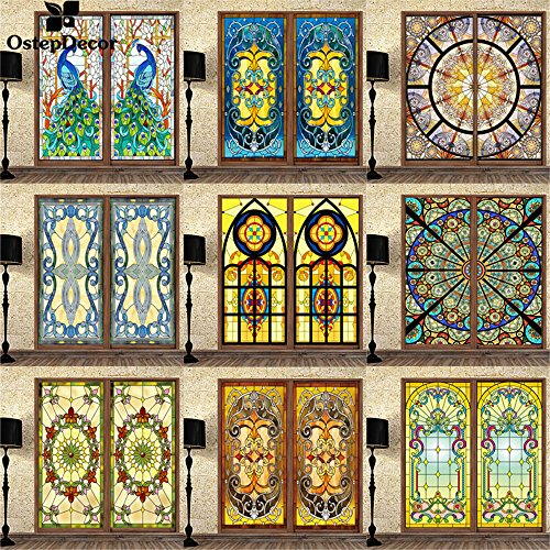OstepDecor Translucent Non-Adhesive Stained Glass Window Films for Custom Orders 24