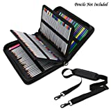 BTSKY Deluxe PU Leather Pencil Case for Colored Pencils - 160 Slot Pencil Holder (Black) (Color: Black)