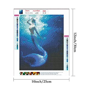 HaiMay 4 Pack DIY 5D Diamond Painting by Number Kits Full Drill Round Rhinestone Embroidery Pictures Arts Craft for Home Wall Decoration, Mermaid(10 × 12 inch) (Color: Mermaid)