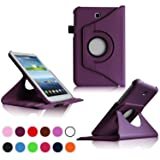 Kingsource (TM Samsung Galaxy Tab 3 7.0 Case-360 Rotating Leather Stand Case Cover for Galaxy Tab 3 7.0 SM-T210R and SM-T217S 7-Inch P3200 Tablet Color purple (Color: purple)