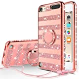 Compatible for Apple iPod Touch 6 Case, iPod Touch 5 Case, SOGA Cute Girl/Women Rhinestone Bumper Sparkling Glitter Bling Diamond Phone Cover with Magnetic Ring Stand - Rose Gold Strip (Color: Stripe Rose)