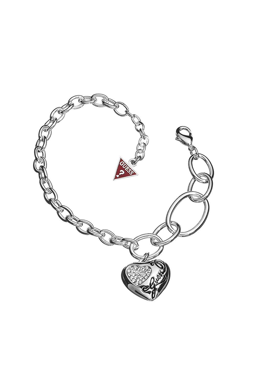 Guess Damen Armband Edelstahl Kristall weiß UBB12009