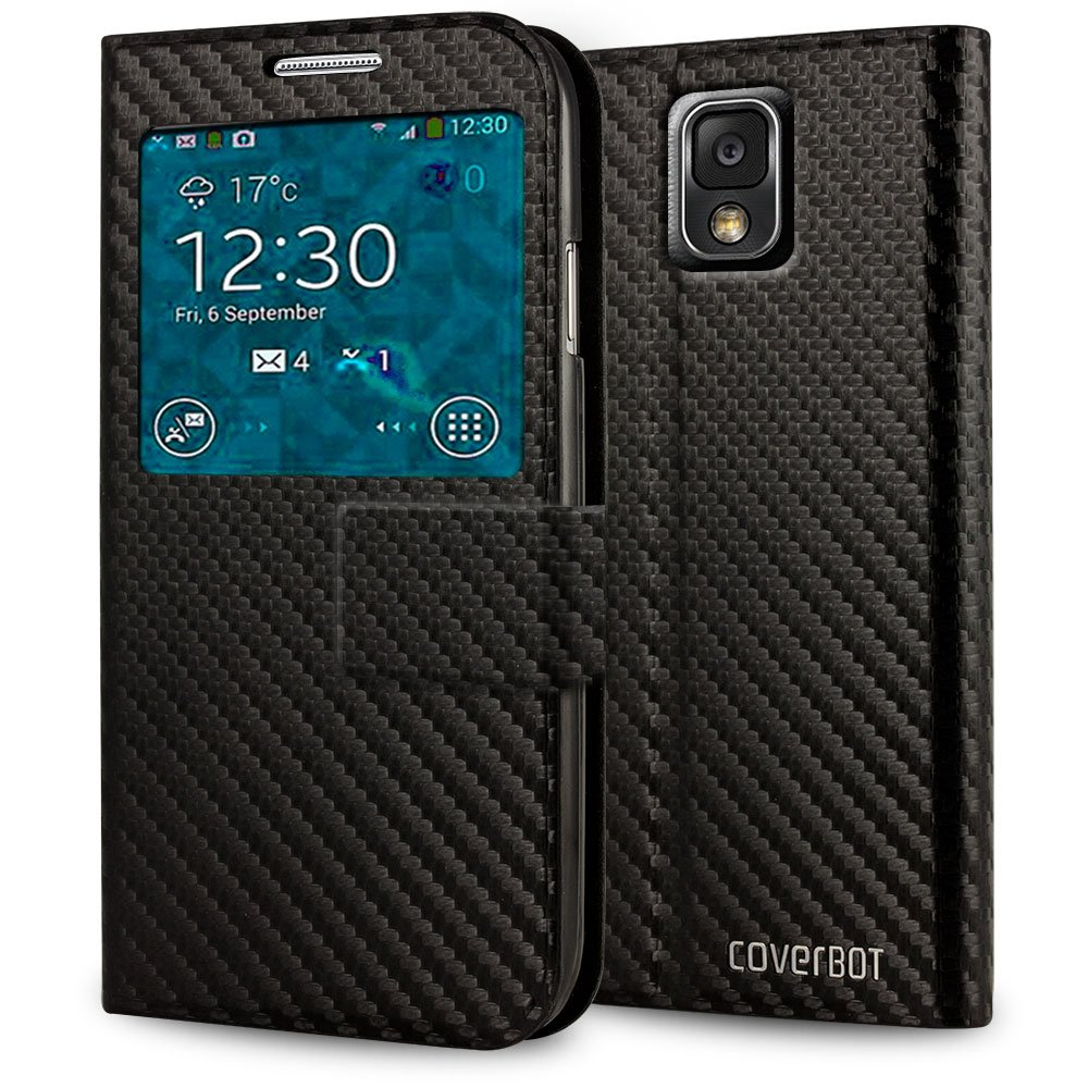 CoverBot Carbon Fiber Samsung Galaxy Note 3 S-View Flip Cover - Black