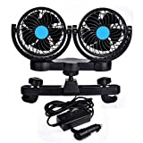 Catinbow Car Fan for Rear Seat Passenger 12V 360 Degree Rotatable Dual Head 2 Speed Quiet Strong Dashboard Auto Cooling Air Fan for SUV RV Boat Auto Vehicles Golf (Color: Black)