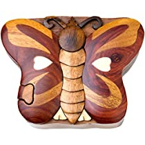 Butterfly Handmade Carved Wood Intarsia Puzzle Box
