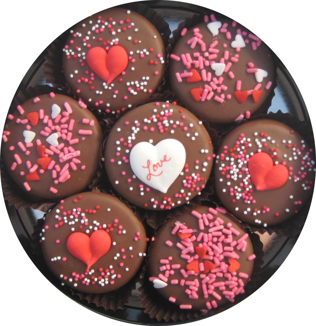 Milk Chocolate Dipped Oreo Cookies Love Design for Valentine's Day