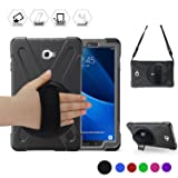 Galaxy Tab A 10.1'' Case, BRAECN Three Layer Heavy Duty Shockproof Rugged Case with 360 Degree Rotatable Stand/Hand Strap and Shoulder Strap for Samsung Tab A 10.1 SM-T580N/T585C-Kids Students(Black) (Color: Black)