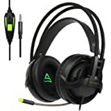 [2017 Newly Updated ] Supsoo SU810 Multi-Platform Gaming Headset With Mic 3.5MM Jack IN-LINE Volume Control Over-ear Gaming Headphones For New Xbox One/PC/Mac/PS4/Smartphones(black) … (Color: G810 black&green)