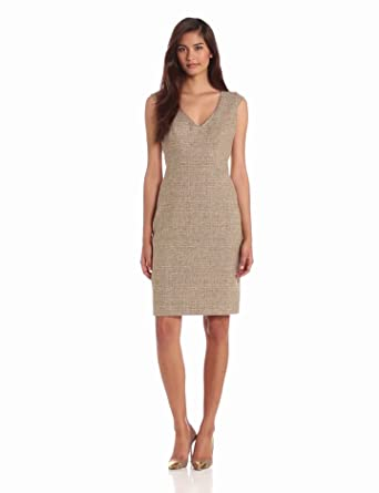 Anne Klein Women's Linen Sheath Dress, Oak Multi, 10