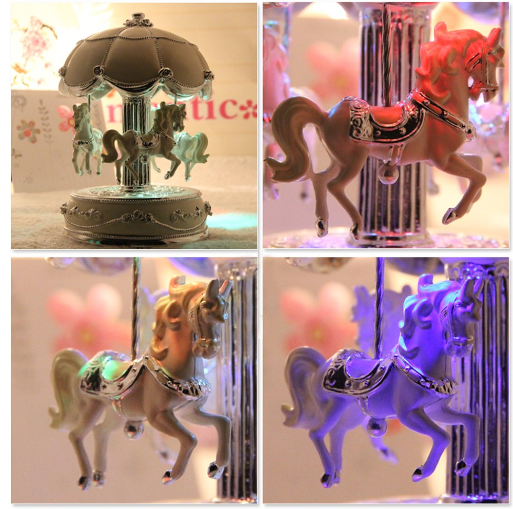 LIWUYOU Luxury Large Size Color Change LED Light Luminous Rotating Carousel Horse Musical Box With Music of Castle in the Sky Color Beige 4