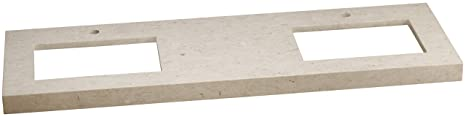 "Ronbow 306659-1D-MY WideAppeal Marble Vanity Top with 2 3/4"" Thickness, 59"" x 19"", Cream Beige"