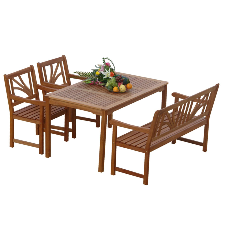 indoba® IND-70026-LOSE4 – Serie Lotus – Gartenmöbel Set 4-teilig aus Holz FSC zertifiziert – 2 Gartenstühle + Gartenbank + rechteckiger Gartentisch mit Schirmöffnung bestellen