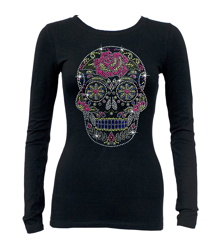 Multi Color Skull Rhinestone Long Sleeve T Shirt Black S