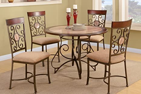 Poundex F2061 & F1091 Brown & Beige Wood 5 Piece Dining Set