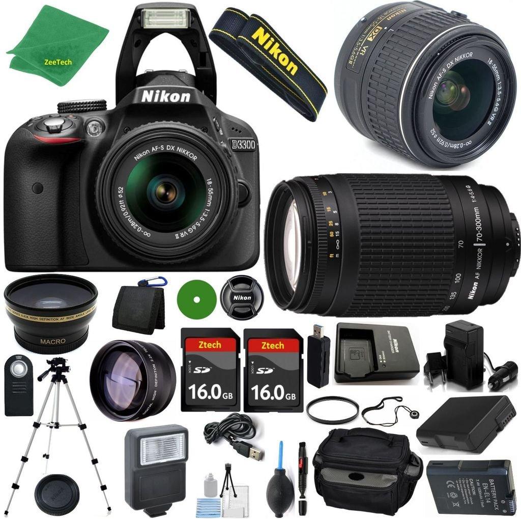 Nikon D3300 24.2 MP CMOS Digital SLR, NIKKOR 18-55mm f/3.5-5.6 Auto Focus-S DX VR, Nikon 70-300mm f/4-5.6G, 2pcs 16GB ZeeTech Memory, Case, Wide Angle, Telephoto, Flash, Battery, Charger