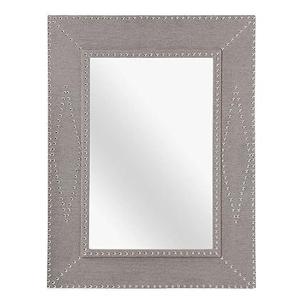 Protege Homeware Stone Linen Fir Wood Manhattan Wall Mirror