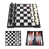 Peradix Chess Board Game Set with Magnetic Chess Backgammon Checkers 3-in-1 Folding Storage Board Portable for Travel with 3 Storage Bags