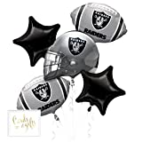 Andaz Press Balloon Bouquet Party Kit with Gold Cards & Gifts Sign, Raiders Football Themed Foil Mylar Balloon Decorations, 1-Set (Color: Sports Raiders)