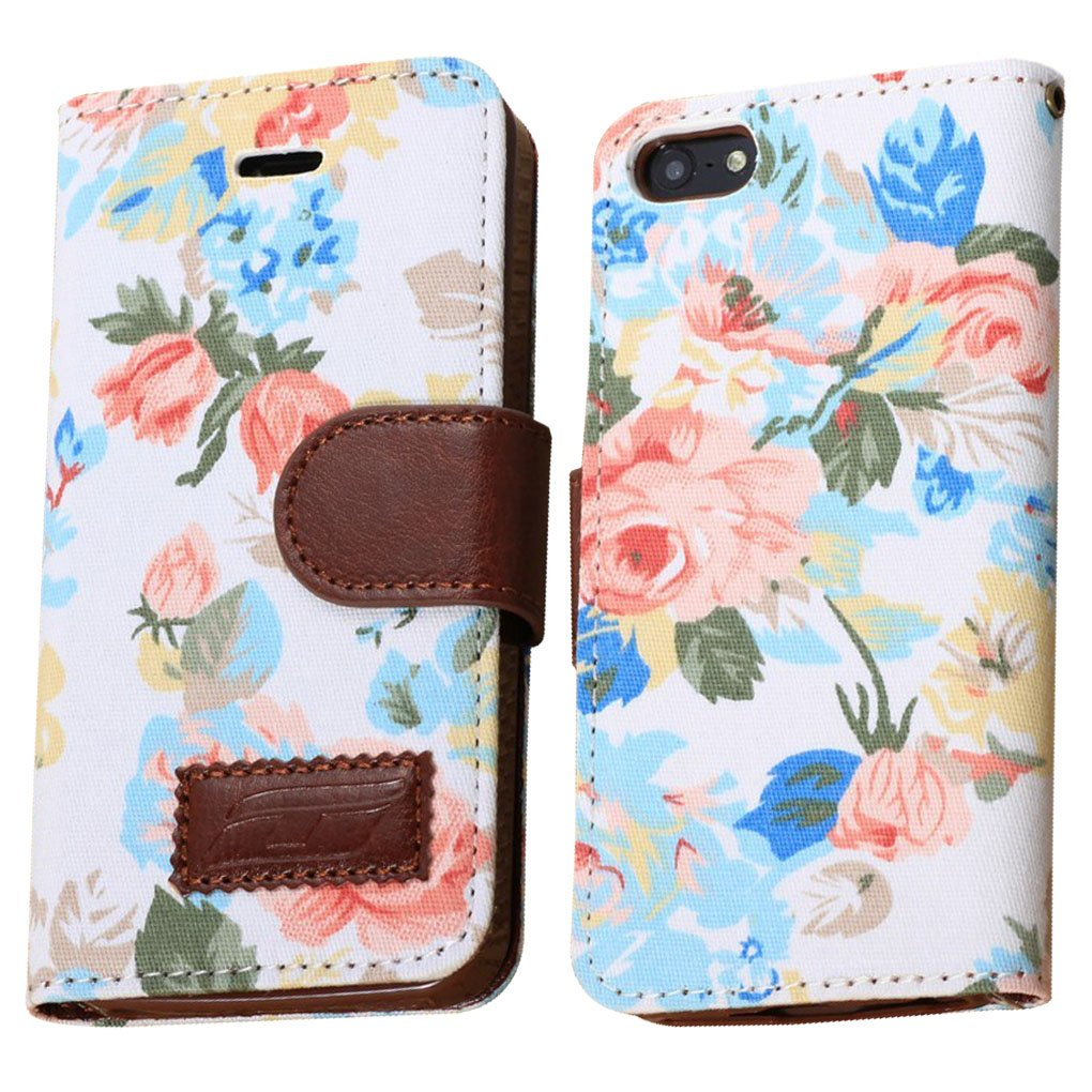 Elegant Flower and Deluxe Book Style Folio PU Leather Wallet with Magnet Design Flip Case Cover, Credit Card Holder for iPhone 5 / 5S / 5C and iPhone 4S (iPhone5S-White)