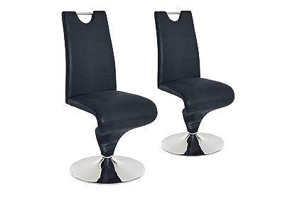 Cavadore Schwingstuhl 2er Set Tracy 01 / Freischwinger ohne Armlehne in modernem Design / Lederimitat / Stuhl mit Griff / Stuhl Set Anthrazit / 49 x 102 x 53,5 cm (BxHxT)