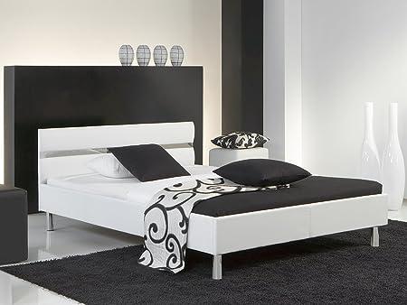 "Polsterbett Bett Doppelbett Jugendbett Ehebett Einzelbett ""Glanz I"" (140x200 cm) (Weiß)"