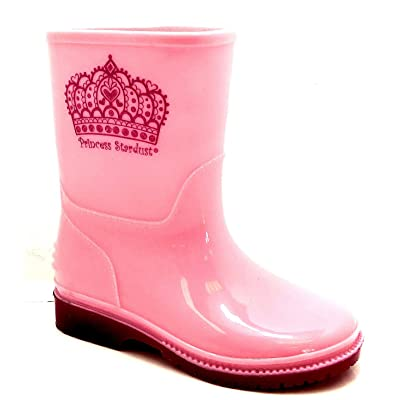 Princess Stardust Girls Julia Pink Crown Wellington Boots