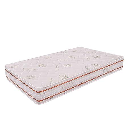 Ailime Matelas orthopédique à mémoire de forme pour lit à une place et demi en aloé vera Blanc 120x200x25cm