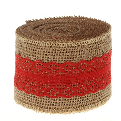 10 yards 2 inch Wide Crafts Multifunction DIY Costume Sewing Polyester Hessian Burlap Red Lace Ribbon by FRE