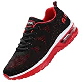 JARLIF Men's Lightweight Athletic Running Shoes Breathable Sport Air Fitness Gym Jogging Sneakers (11 D(M) US, BlackRed)