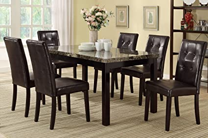 Poundex F2093 & F1078 Faux Marble Top W/ Brown Leatherette Chairs Dining Set